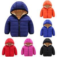 Kids Baby Toddler Boys Girls Winter Hoodies Coat Jackets Tops Outwear Overcoat