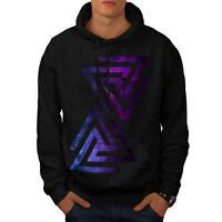 Wellcoda Triangle Universe Mens Hoodie, Galaxy Casual Hooded Sweatshirt