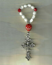 Ladybug Pocket Rosary, Made in the U.S., Silver-Plated Cross White / Red