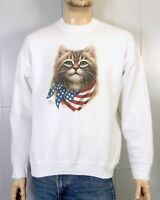 vtg 90s retro Cat Kitten With USA Flag Scarf Sweatshirt animal lover SZ XL