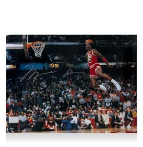 Michael Jordan Signed Chicago Bulls Photo: Legendary Slam Dunk Autograph