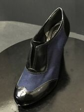 c8024f9dc Tory Burch Womens Wingtip Felt Patent Leather Navy Black Heels Size US 8 M