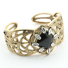 Barse Jewelry Silver Plated, Bronze and Onyx Cuff Bracelet