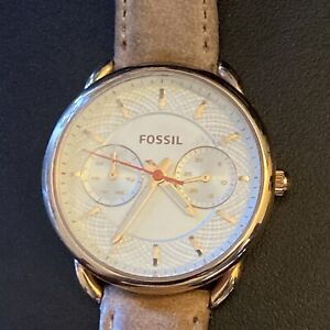 Fossil ES4021 Women's Light Brown Leather Analog Silver Dial Quartz Watch XR591