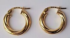 14ct Yellow Gold Twist Hoop Creole Earrings 1.07g NEW Xmas Gift Mum Wife 585 14k
