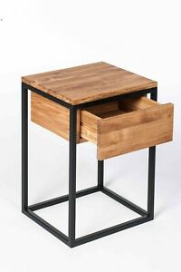 Solid European oak and metal night stand bedside drawer