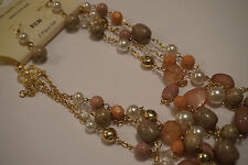 Jaclyn Smith Collection Gold Tone three strand Necklace with earrings