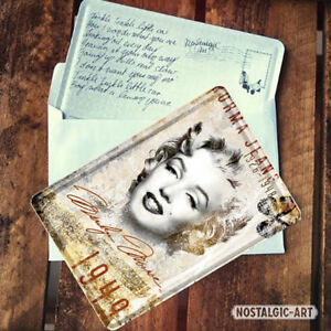 16210 Postal metálica 10x14 marilyn monroe retrato nostalgic art coolvintage