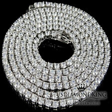 """MENS NEW 925 STERLING SILVER ICED OUT 1 ROW TENNIS CHAIN NECKLACE 24""""x 3 mm 38g"""