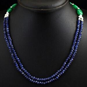 130 Cts Earth Mined Blue Tanzanite & Green Emerald Beaded Necklace JK 19E292
