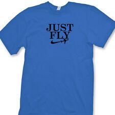 JUST FLY Funny pilot T-shirt Jet Planes Sport Parody Novelty Humor Tee Shirt