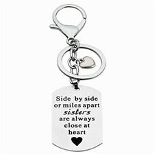 Fashion Sisters Keychain Side by Side Tag Silver Trinket Girls Family Jewelry P3
