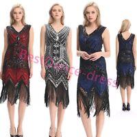 US Flapper Dress Great Gatsby Vintage Sequin Costume 20s Charleston Fringe