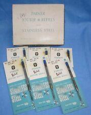 Old Box of 6 Parker Jotter Refills, blue Ink, medium .. New Old Stock