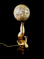 FABULOUS ART NOUVEAU CIRCUS ENTERTAINER LAMP W/ ITALIAN MILLEFIORI SHADE C 1920