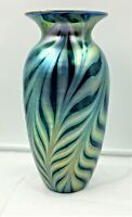 "11"" TALL LUNDBERG STUDIOS IRIDESCENT ART GLASS PULLED FEATHER VASE-SGND/DATED"