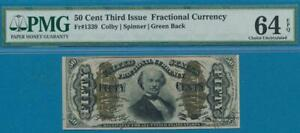 FR.1339 .50 CENT  THIRD ISSUE FRACTIONAL PMG CHOICE NEW 64EPQ