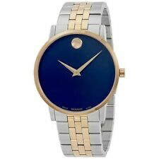 New Movado Museum Classic Blue Dial Two-Tone Stainless Steel Men's Watch 0607267