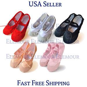 Girls Womens Ballet Dance Shoes Fitness Gymnastics Shoes Canvas US Seller