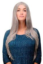 Perruque Gris Mélange de gris-noir lisse Raie au milieu 80 cm long Fee 3217-51