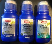 Leader Milk of Magnesia Liquid Original 12 X 2 & Fresh Mint X 1 Bottle Exp 2/20+
