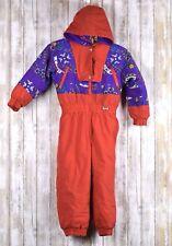 Vintage Fera Wear Ski Snow Suit Red Purple Junior Size 4