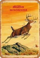 1958 Western Winchester Deer Retro Tin Metal Sign 8 x 12