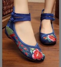 denim & red peacock embroidered flat 6.5