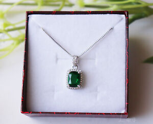 925 Sterling Silver Crystal Green Zirconia Stone Pendant Chain Necklace Gift