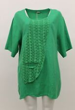 LA BASS WOMEN'S SPRING SUMMER LINEN PULLOVER SHIRT GREEN PLUS SIZE 2