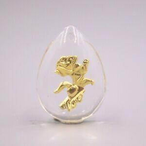 Man-made Crystal 24K Yellow Gold Foiled Love Rose Flower Pendant 30mmH Best Gift