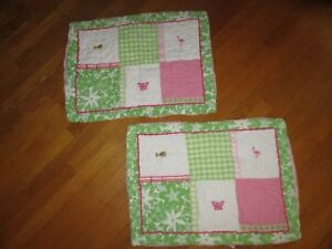 Pair (2) Pottery Barn Kids Pink Green Gingham Embroidered Quilted Pillow Shams