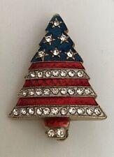 Christmas Tree Brooch/Pin American Flag Rhinestones Gold Tone Patriotic Jewelry