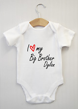 Personalised I love my Big Brother Baby Grow Bodysuit Vest Babygrow Shower Gift