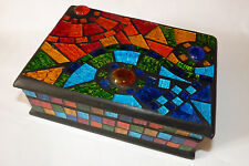 Gorgeous Rainbow Colours Mosaic Glass Box. Jewellery/ Trinkets/ Tarot Cards.