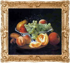 1:24 Half Scale FRUIT STILL LIFE Dollhouse Framed Art Picture -MADE IN AMERICA