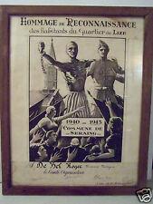 @ CADRE HOMMAGE HABITANTS QUARTIER DE LIZE COMMUNE SERAING, GUERRE MONDIALE, WW2