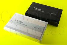 CARCASA CAJA DE DISCO DURO EXTERNO 3,5 IDE ATA USB EXTERNA FUNDA CABLES ALUMINIO