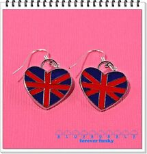 FUNKY UNION JACK HEART EARRINGS CUTE KITSCH BRITISH LOVE LONDON RED BLUE FLAG