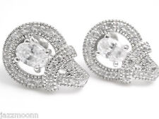 FILIGREE STYLE STERLING SILVER  WHITE CZ EARRINGS