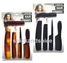12 Assorted Mens Pocket Thick  Thin Hair Combs Plastic Gents Ladies Handle Women