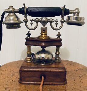 Stunning Antique Wooden And Metal Vintage Rare Original Telephone