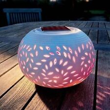 NEW CERAMIC COLOUR CHANGING LED SOLAR SUN POWERED TABLE LIGHT GARDEN LAMP FREE P