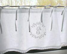 Scheibengardine CRYSTAL NY WEISS 45x120  bestickt LillaBelle Monogramm Shabby