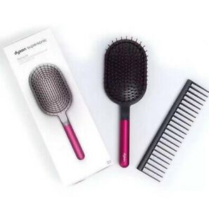 NEW DYSON PADDLE HAIR BRUSH & COMB SET! FUCHSIA NICKLE SUPERSONIC AIRWRAP