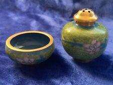 Vintage Chinese Cloisonné Salt Cellar & Pepper Shaker - Blue & Pink on Lt Green