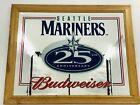 VTG SEATTLE MARINERS Budweiser 25th Anniv. Beer Bar Mirror Man Cave Pub Tavern