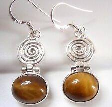 Tiger Eye with Spiral Accent Earrings 925 Sterling Silver Dangle Drop New