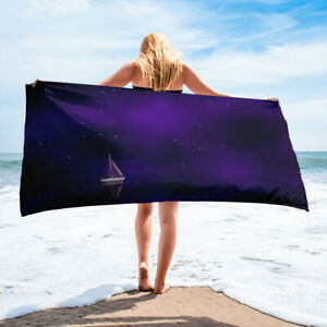 Purple Sailboat Beach Towel Dreamy Fantasy