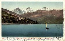 Thunersee Schweiz Bern 1914 Schloss Hünegg Eiger Mönch Jungfrau Segelboot Boot